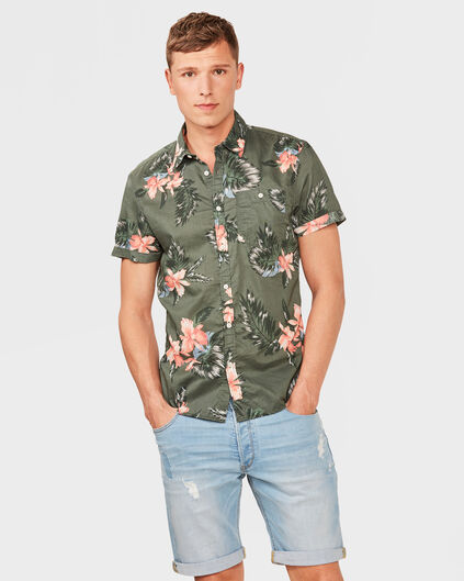 HEREN SLIM FIT HAWAII PRINT OVERHEMD Legergroen