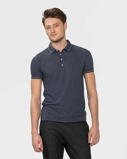HEREN STRETCH POLOSHIRT Donkerblauw