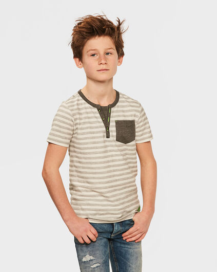 JONGENS GRANDAD STRIPED T-SHIRT Grijs