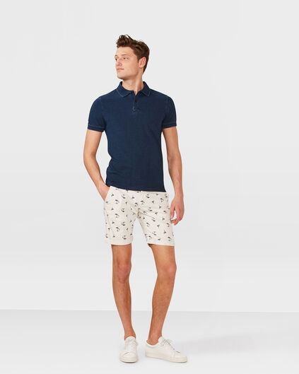 HEREN SLIM FIT FLAMINGO PRINT CHINO SHORT Gebroken wit