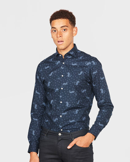 HEREN SLIM FIT SQUIRREL PRINT OVERHEMD Marineblauw