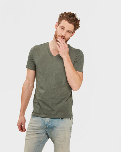 HEREN ORGANIC COTTON  V-NECK T-SHIRT Legergroen