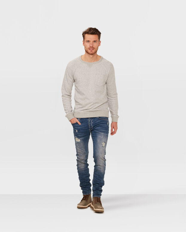 HEREN MELANGE SWEATER Grijs