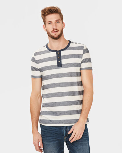 HEREN GRANDAD STRIPE SHIRT Marineblauw