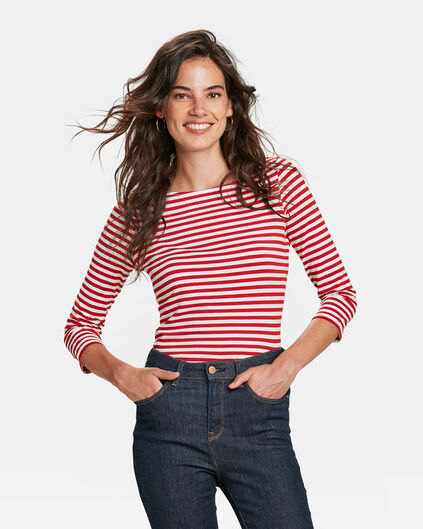 DAMES STRIPED SHIRT Donkerrood