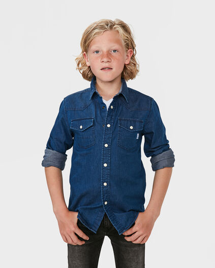 JONGENS REGULAR FIT DENIM OVERHEMD Blauw