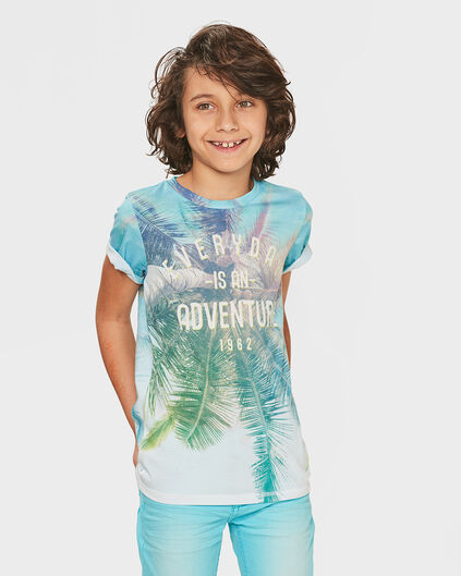 JONGENS PALM TREE PRINT T-SHIRT Wit