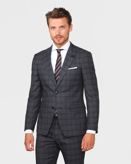 HEREN ULTRA SLIM FIT CHECKED BLAZER TADEO Donkergrijs