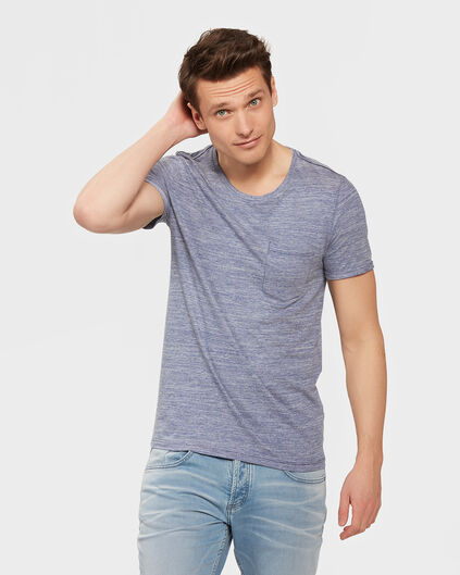 HEREN ONE-POCKET MELANGE  T-SHIRT Felblauw