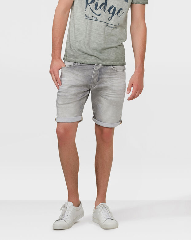 HEREN REGULAR FIT JOG DENIM SHORT Lichtgrijs