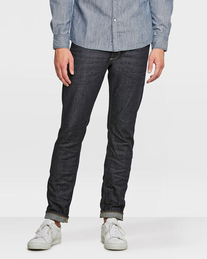 HEREN SLIM TAPERED SELVEDGE STRETCH JEANS Donkerblauw