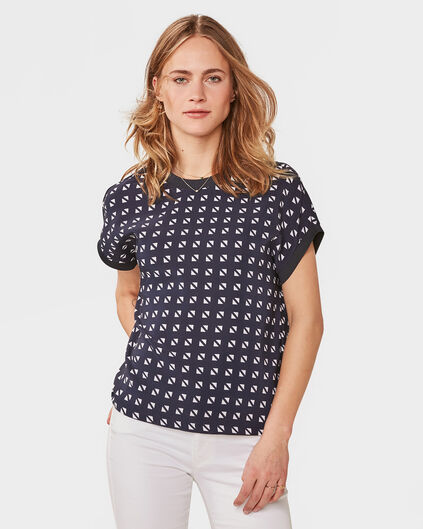 DAMES GRAPHIC PRINT TOP Donkerblauw