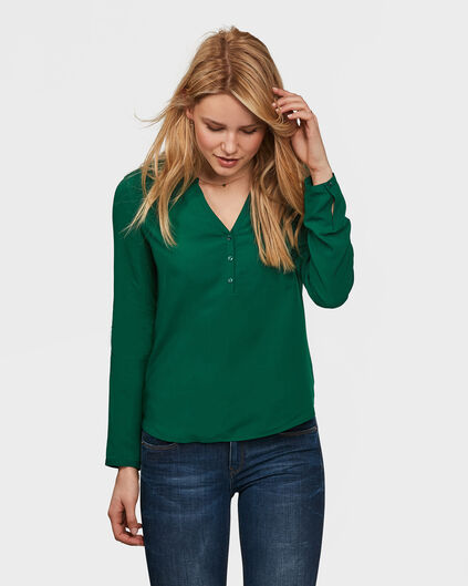 DAMES SINGLE PATCH POCKET BLOUSE Donkergroen