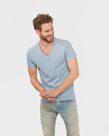 HEREN ORGANIC COTTON  V-NECK T-SHIRT Pastelblauw