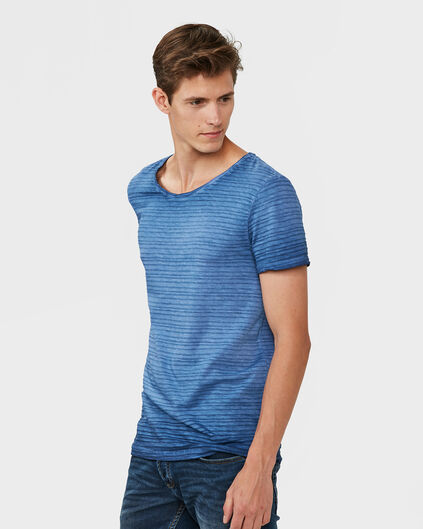 HEREN STRIPE STRUCTURE GARMENT DYE T-SHIRT Blauw