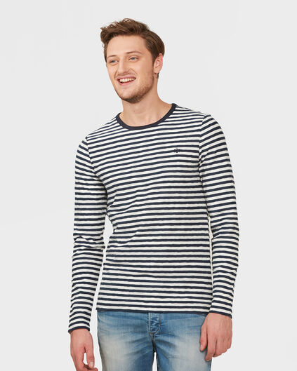 HEREN STRIPE SWEATER Marineblauw
