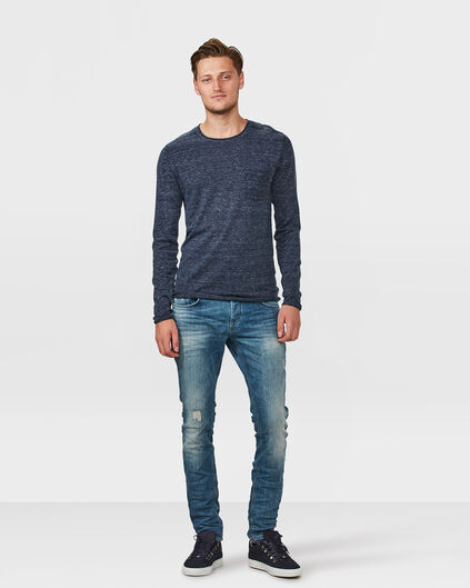 HEREN SLIM TAPERED REPAIRED STRETCH JEANS Blauw
