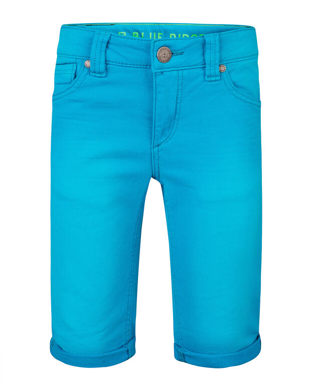 JONGENS SLIM FIT GARMENT DYE JOG DENIM SHORT Felblauw