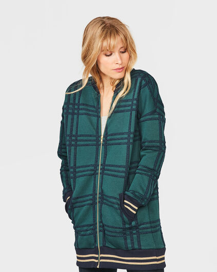 DAMES CHECKED LONG BOMBER JACKET Donkergroen