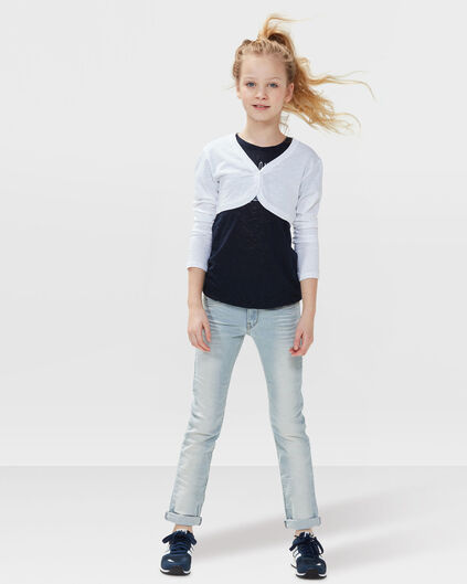 MEISJES MID RISE SKINNY BLEACHED JEANS Lichtblauw