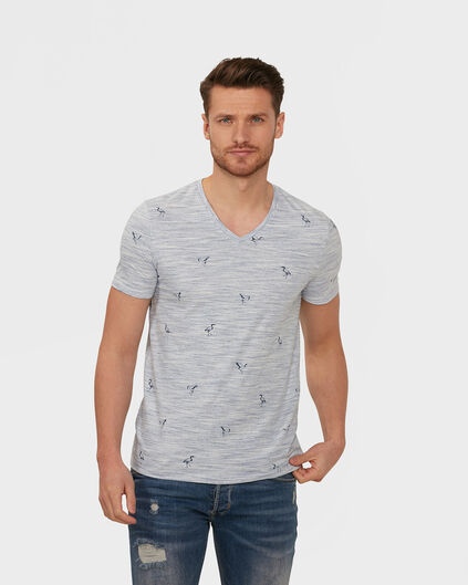 HEREN MELANGE V-NECK T-SHIRT Wit