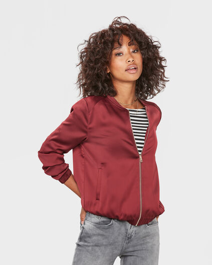 DAMES SATIN BOMBER JACKET Rood