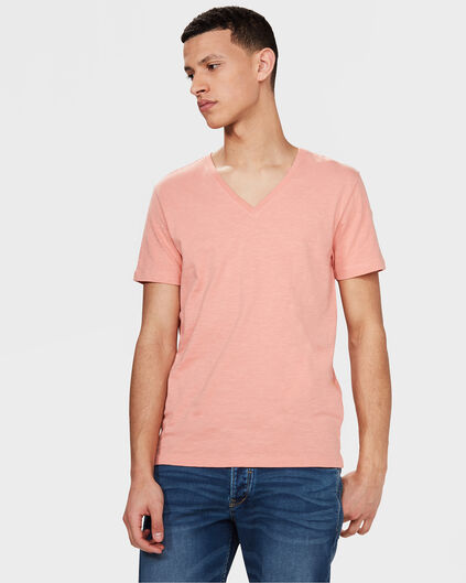 HEREN ORGANIC COTTON V-NECK T-SHIRT Koraalroze