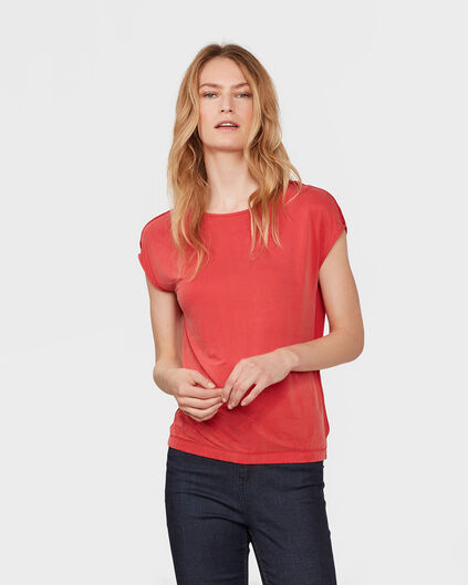 DAMES CONTRAST CUPRO TOP Donkerrood