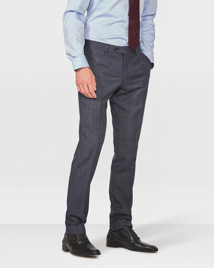 HEREN CHECKED SLIM FIT PANTALON DRONFIELD Donkerblauw