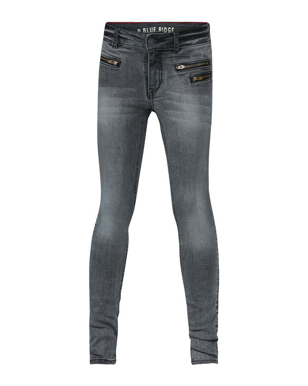 MEISJES SUPER SKINNY GREY DENIM ZIPPER POCKET JEANS Grijs