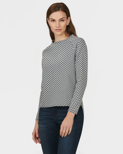 DAMES JAQUARD PATTERN TOP Marineblauw