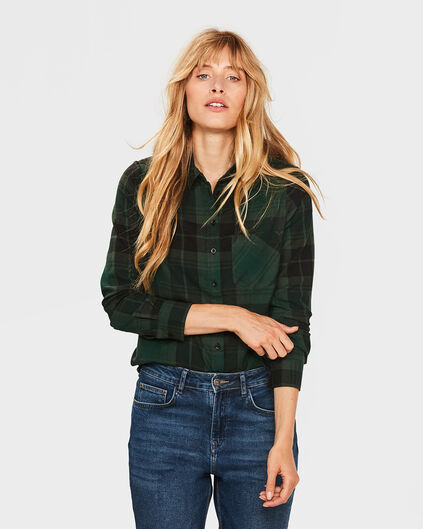 DAMES CHECKED PRINT BLOUSE Groen