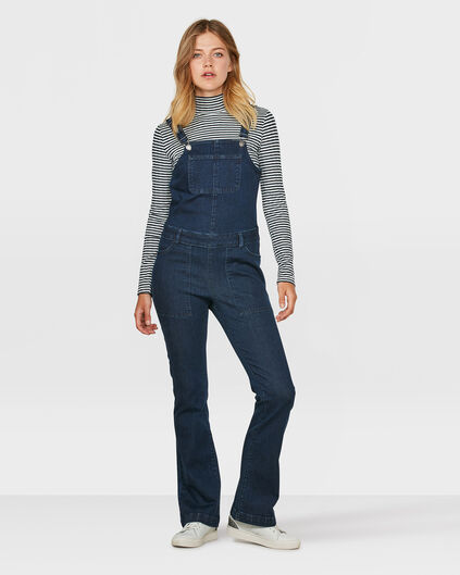 DAMES DENIM FLARED OVERALL Donkerblauw