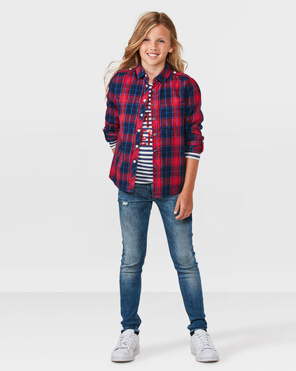 MEISJES CHECKED OVERHEMD Rood