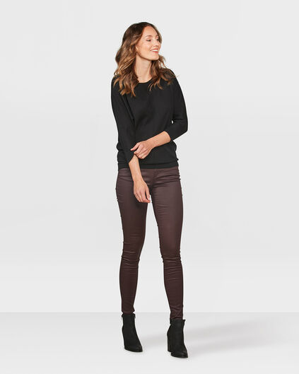 DAMES COATED SUPER SKINNY BROEK Aubergine