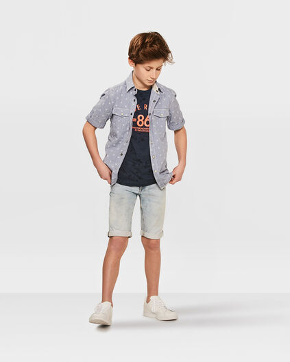 JONGENS SLIM FIT JOG DENIM SHORT Lichtblauw