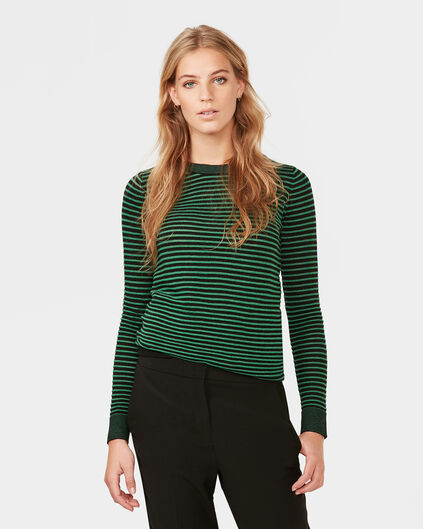 DAMES STRIPE COL-NECK TRUI Groen