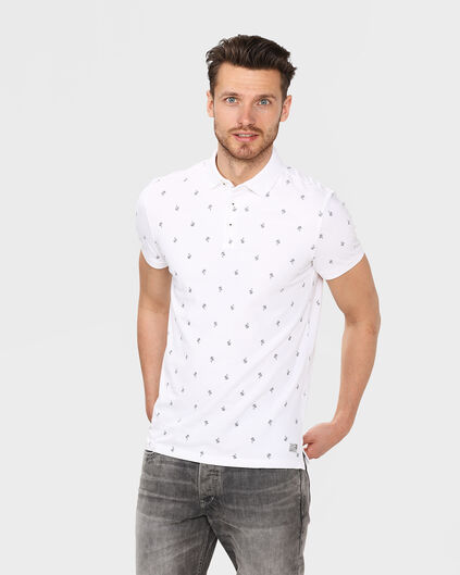 HEREN PALM TREE PRINT POLOSHIRT Wit