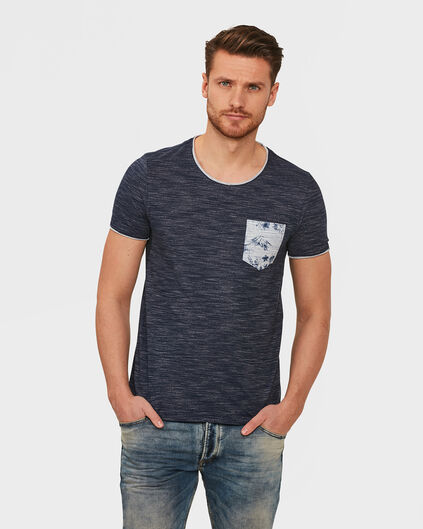 HEREN ONE POCKET MELANGE T-SHIRT Donkerblauw