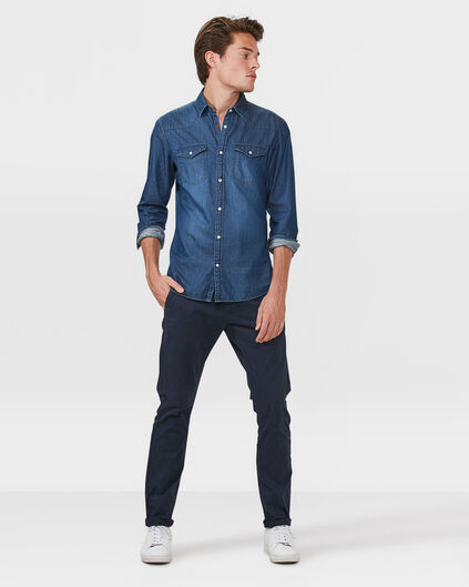 HEREN REGULAR FIT CASUAL CHINO Marineblauw