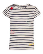 MEISJES STRIPED PARTY T-SHIRT_MEISJES STRIPED PARTY T-SHIRT, Gebroken wit