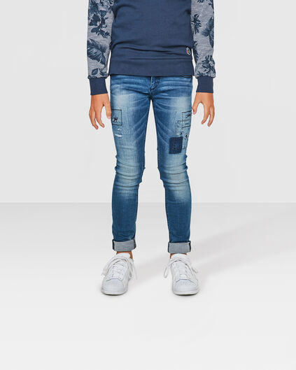 JONGENS SUPER SKINNY POWER STRETCH RIP & REPAIR JEANS Blauw