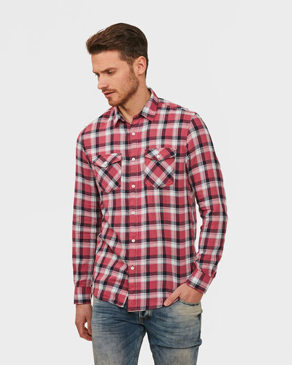 HEREN SLIM FIT CHECKED OVERHEMD Rood