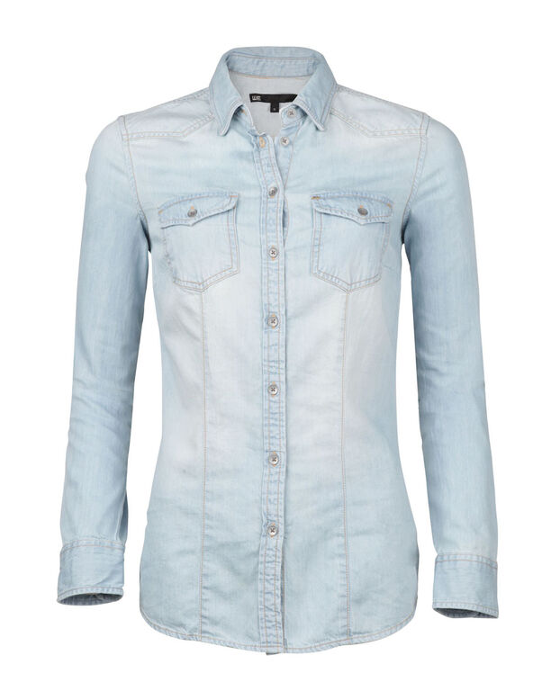 DAMES DENIM BLOUSE Lichtblauw