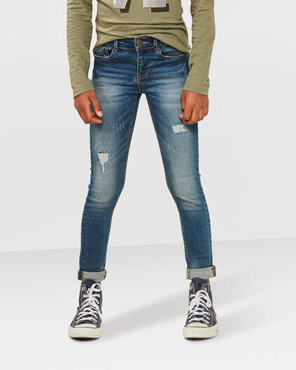 MEISES SUPER SKINNY REPAIR POWER STRETCH JEANS Blauw