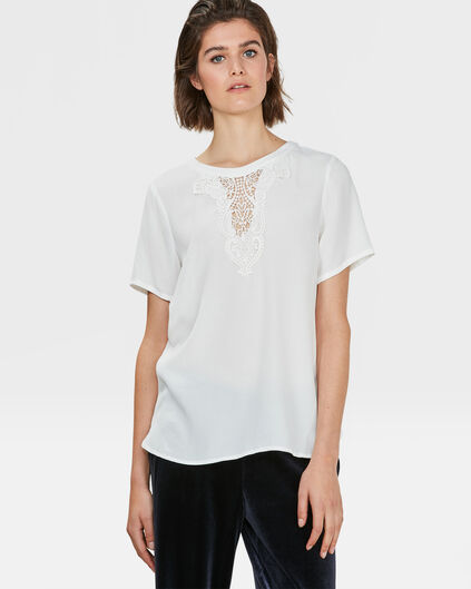 DAMES EMBROIDERED DETAIL TOP Gebroken wit