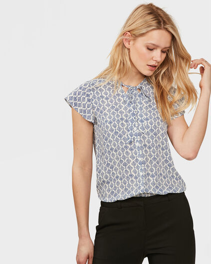 DAMES GRAPHIC PRINT TIE BLOUSE Kobaltblauw