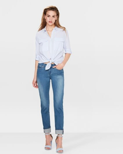 DAMES MID RISE SLIM STRAIGHT JEANS Blauw