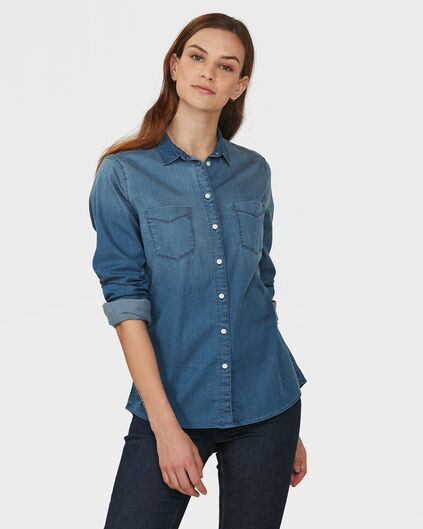 DAMES BLUE RIDGE DENIM BLOUSE Lichtblauw