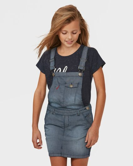 GIRL'S STRIPE DUNGAREE DRESS Blauw